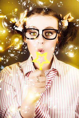 Floating Girl Photograph - Female Nerd Blowing Bubbles Of Business Success by Jorgo Photography - Wall Art Gallery