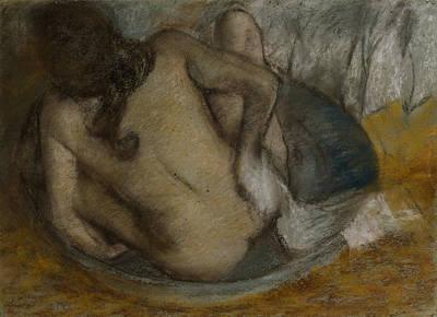 Nude Bathing Drawing - Femme Au Tub by Edgar Degas