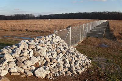 Indiana Photograph - Fence Blocking Invasive Fish Species by Jim West