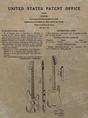 Music Drawings - Fender Guitar Patent by Dan Sproul