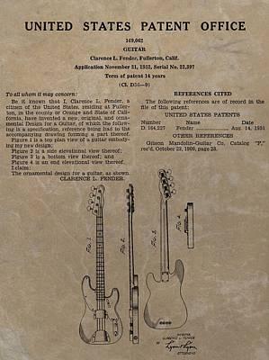 Music Drawings - Fender Guitar Patent by Dan Sproul