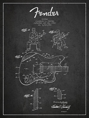 Bass Digital Art - Fender Guitar Patent Drawing From 1960 by Aged Pixel