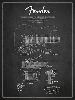 Acoustic Guitar Digital Art - Fender Tremolo Device Patent Drawing From 1956 by Aged Pixel