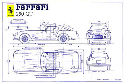 Sport Car Drawing - Ferrari 250 Gt Blueprint by Jon Neidert