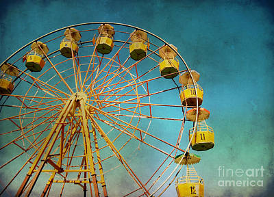 Art Print featuring the photograph Ferris Wheel With Grunge Effect by Mohamed Elkhamisy