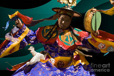 Art Print featuring the digital art Festival In Bhutan by Angelika Drake
