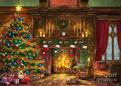Festive Fireplace Print by Dominic Davison