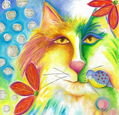 Chatting Mixed Media - Fevrier Chat by Deb Harvey