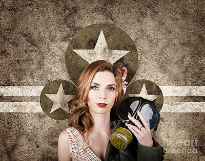 Fifties Army Pin Up Woman. Remembrance Day Art Print by Jorgo Photography - Wall Art Gallery