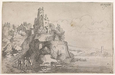 Figures At A Fort In A River Landscape, Jan Van De Velde II Art Print by Jan Van De Velde (ii)