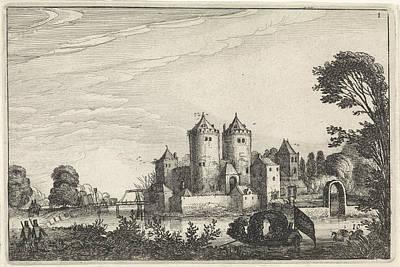 Canoe Drawing - Figures In A Canoe In A Castle, Jan Van De Velde II by Jan Van De Velde (ii)
