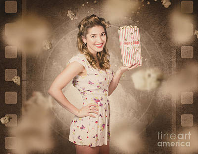 Enjoyment Photograph - Film And Cinema Pin-up Woman In Old Classic Movie by Jorgo Photography - Wall Art Gallery