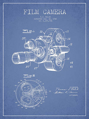 Camera Digital Art - Film Camera Patent Drawing From 1938 by Aged Pixel