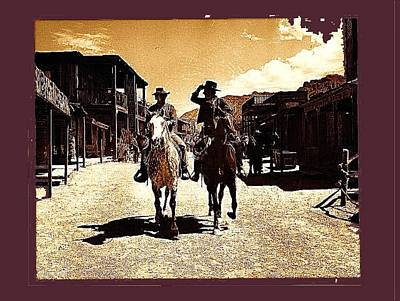Film Homage Mark Slade Cameron Mitchell Riding Horses The High Chaparral Old Tucson Az C.1967-2013 Art Print by David Lee Guss
