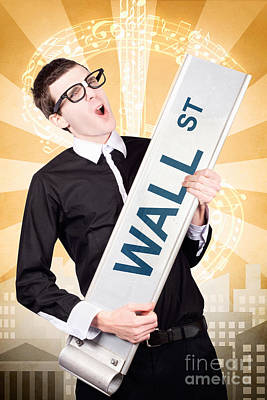 Earnings Photograph - Finance Man Rocking Wall Street Stock Market by Jorgo Photography - Wall Art Gallery
