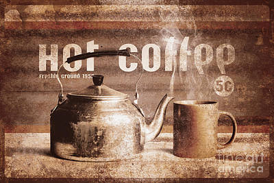 Photograph - Fine Art Coffee Shop Tin Sign Insignia by Jorgo Photography - Wall Art Gallery
