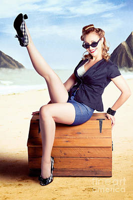 Photograph - Fine Art Fifties Poster Girl On Travel Luggage by Jorgo Photography - Wall Art Gallery