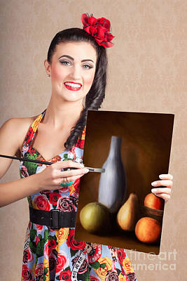 Oil Painter Photograph - Fine Art Girl Painting Still Life Gallery Artwork by Jorgo Photography - Wall Art Gallery
