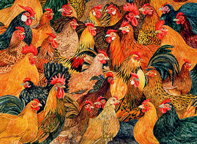 Cockerel Painting - Fine Fowl by Ditz