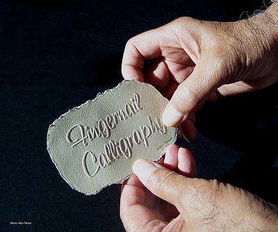 On Paper Photograph - Fingernail Calligraphy by Suhas Tavkar