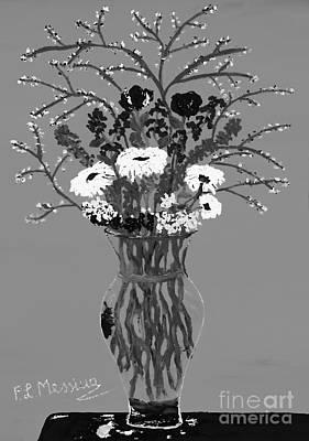 Vase Of Flowers Drawing - Fiori-black And White by Loredana Messina