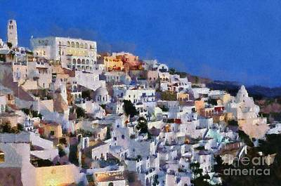 Painting - Fira Town During Dusk Time by George Atsametakis