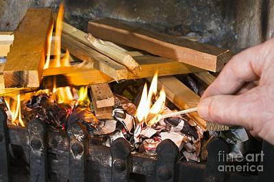 Grate Photograph - Fire Being Lit by Martyn F. Chillmaid
