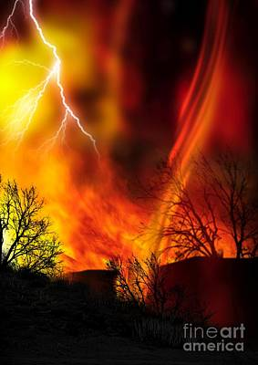 Heat Lightning Photograph - Fire Whirl, Artwork by Victor Habbick Visions