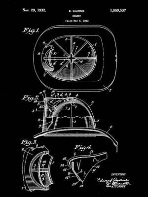 Save Digital Art - Firefighter's Helmet Patent 1932 - Black by Stephen Younts