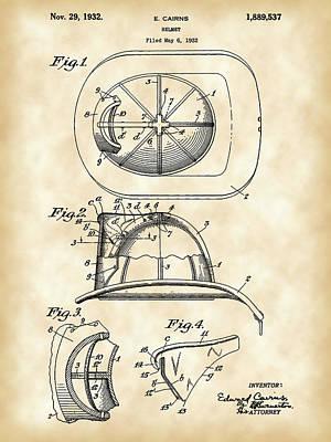 Firefighter's Helmet Patent 1932 - Vintage Art Print by Stephen Younts