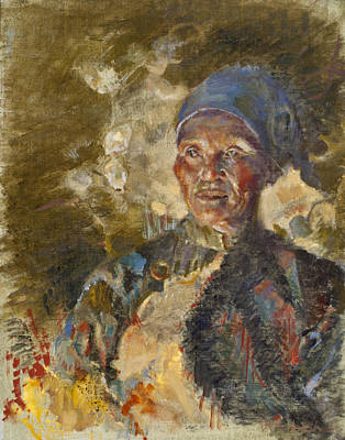 Painting - Firelit Woman by Ellen Dreibelbis