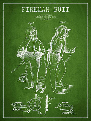Clothes Digital Art - Fireman Suit Patent Drawing From 1826 by Aged Pixel