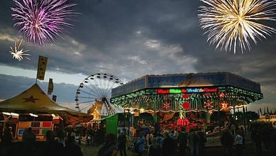 Fireworks At An Amusement Park Print by Darren Greenwood