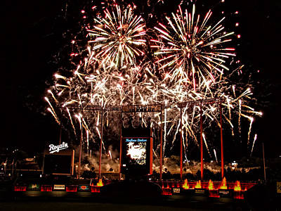 Fireworks At Kauffman Stadium Art Print by Alan Hutchins