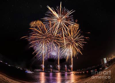 Fireworks At Pattaya Beach Art Print