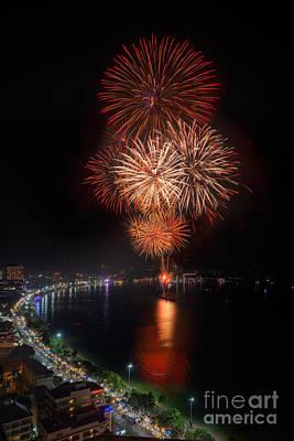 Fireworks New Year 2014 - 2015 Celebration Art Print by Anek Suwannaphoom