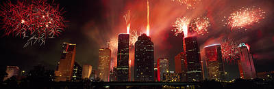 Fireworks Over Buildings In A City Art Print by Panoramic Images