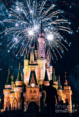 Fantasy Royalty-Free and Rights-Managed Images - Fireworks over Cinderellas Castle by Jonathan Virgie