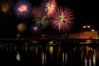 Fireworks Over The Broadway Bridge Art Print