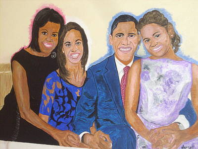 Michelle Obama Painting - First Family by Darrell Hughes
