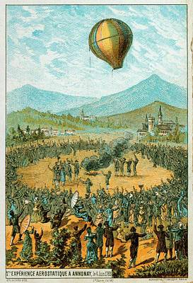 Jacques Photograph - First Hot Air Balloon Demonstration by Universal History Archive/uig