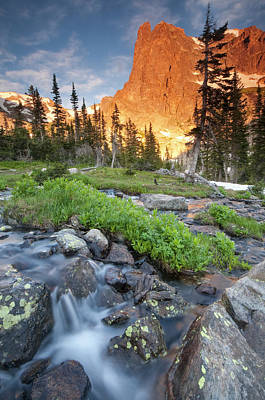 Chasm Lake Photograph - First Light On Long S Peak At Chasm by Carl Johnson