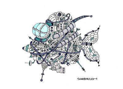 Electronics Drawing - Fish 13.0 by Larry Scarborough