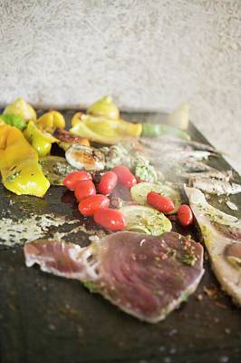 Grilled Fish Photograph - Fish And Seafood With Vegetables On Grill Plate by Foodcollection