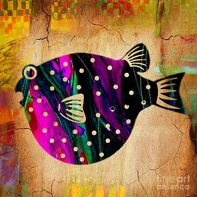 Fish Mixed Media - Fish Plaque by Marvin Blaine