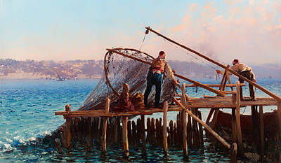 Bringing Painting - Fishermen Bringing In The Catch by Mountain Dreams