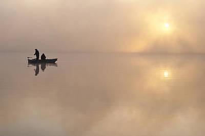Photograph - Fishermen In Samll Fishing Boat by Jim Corwin