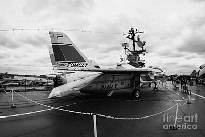 fisheye shot of Grumman F14 on the flight deck of the USS Intrepid  Art Print