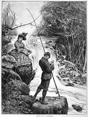 Pole Drawing - Fishing, 1885 by Granger