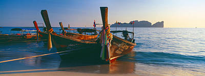 Phuket Photograph - Fishing Boats In The Sea, Phi Phi by Panoramic Images
